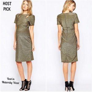 NWT ASOS Maternity Cutout Bodycon Gold Dress